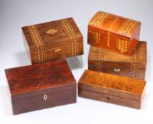 Two Tunbridge ware boxes, etc.