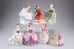 Seven Royal Doulton figures, Chloe HN1470, Pamela HN3223, Michelle HN2234,Christmas Time HN2116,