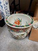 A modern Chinese Famille Rose porcelain goldfish bowl,