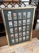 A framed collection of 25 Wills cigarette cards, together with an early photograph of Almondsbury