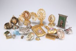 A Limoges porcelain gilt and enamel perfume bottle and matching card case, etc.