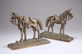A pair of Victorian bronze chimney ornaments