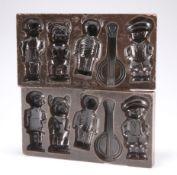 Two Belgian Bakelite chocolate moulds, marked Brevet, Belge, No. 477.091Belgium, to base, 21cm by