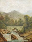 J* BRAND (19TH/20TH CENTURY), OLD STONE BRIDGE OVER A RIVER AND WOODED RIVER LANDSCAPE