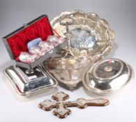 A group of miscellaneous silver plate comprising, a boxed set of silver-plated Victorian style