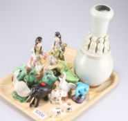 A group of Chinese pottery figures of geese, 8cm high, two Cantonese figures of musicians seated