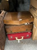 A Vintage red picnic hamper and two vacant wooden canteen cases (3)