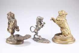 A Victorian cast brass novelty inkwell in the form of a begging dog, etc.