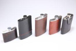 Five various hip flasks