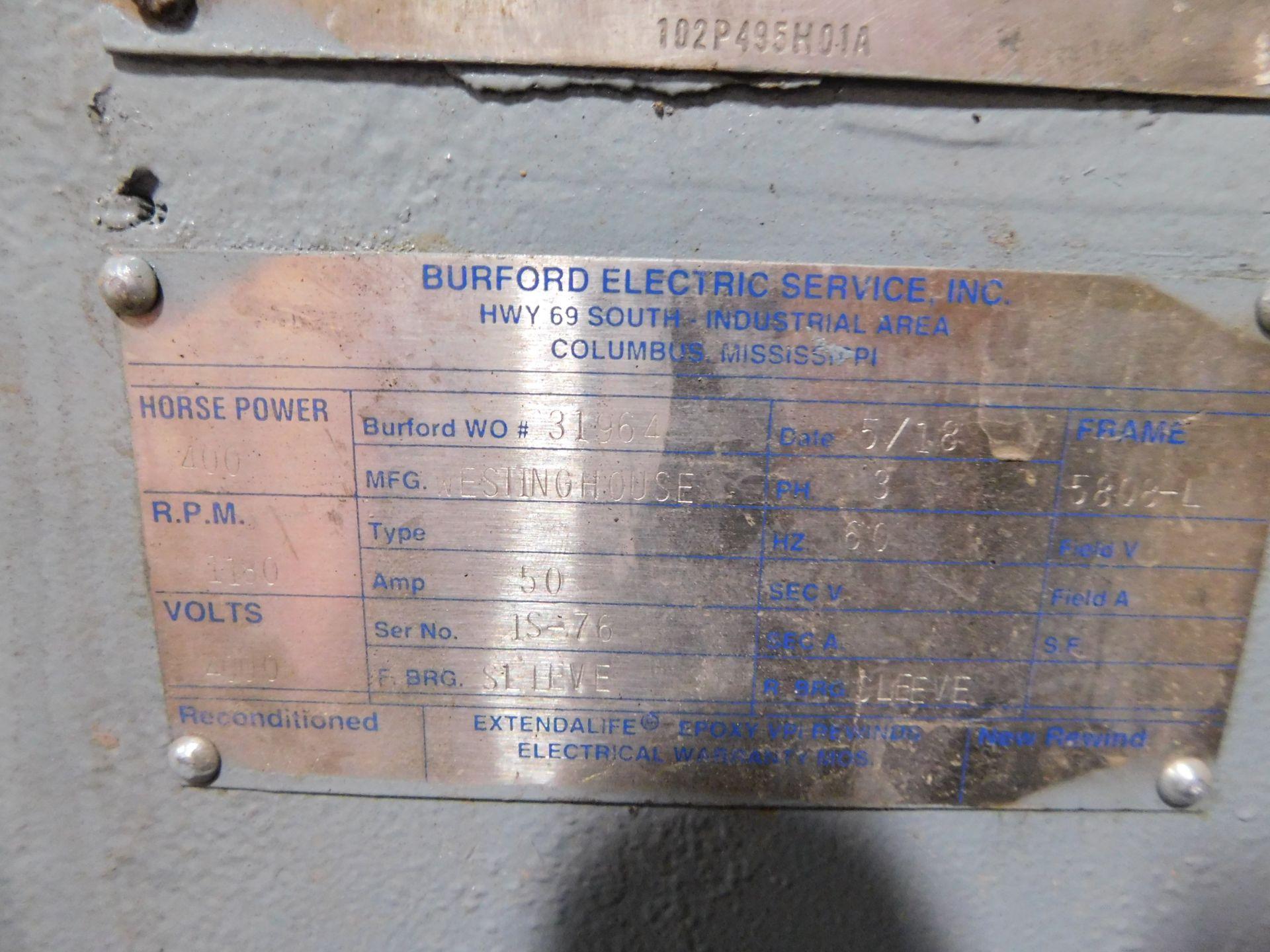 Teco Westinghouse Motor. 400 HP. 3 Ph. 1180 RPM. 4000 V. 60 Hz. 5808L. HSW1. - Image 5 of 6