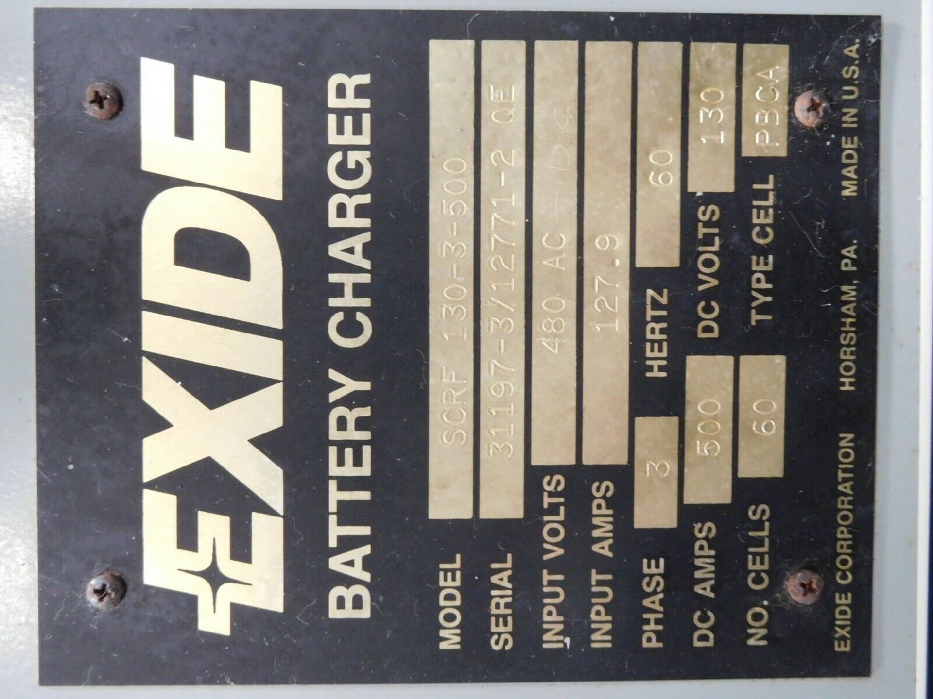 Exide SCRF 130-3-400 Battery Charger. 480 VAC. 500 A DC. 60 Cell. PBCA. - Image 2 of 2