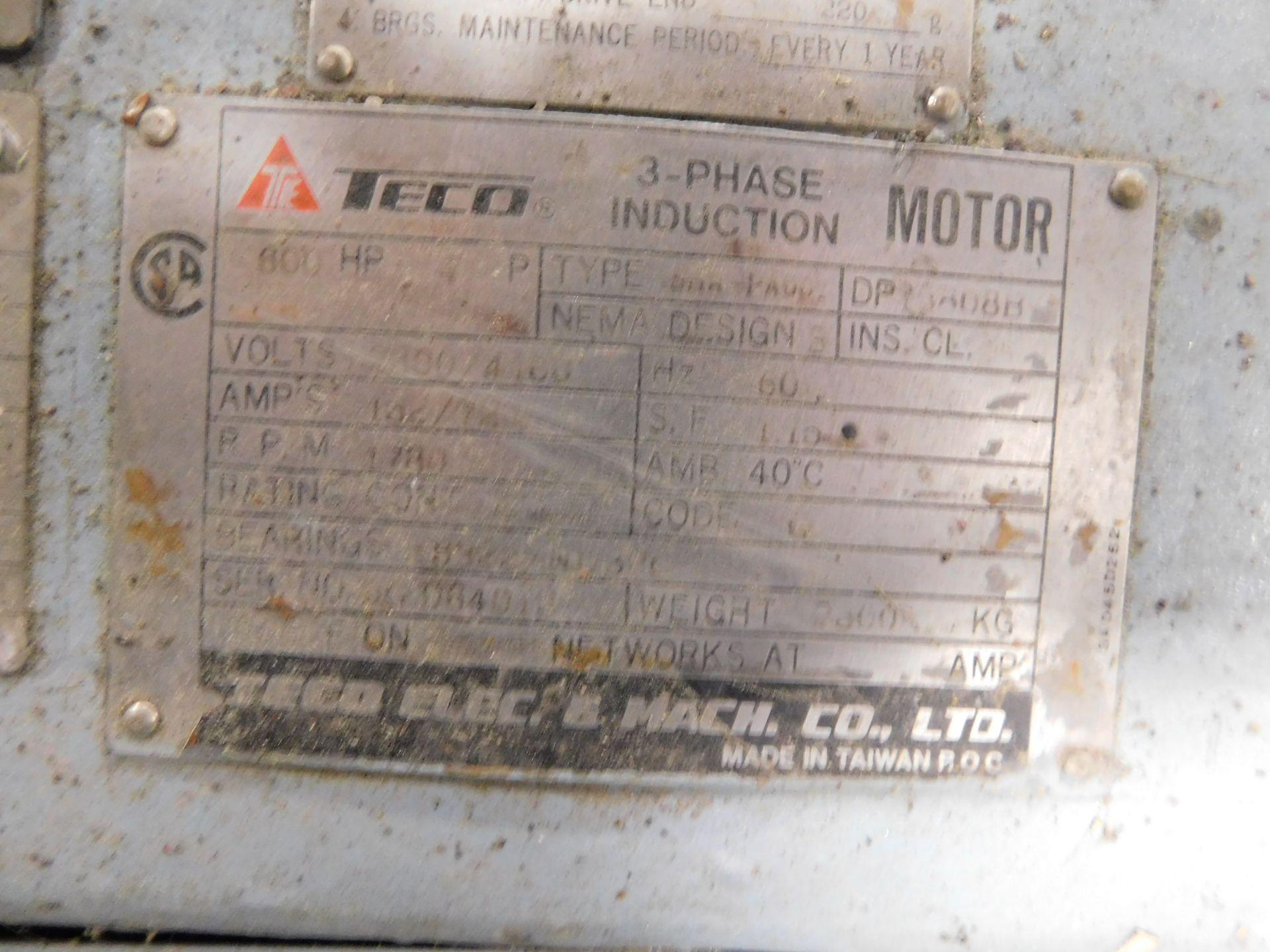 Teco Induction Motor. 600 HP. 3 Ph. 2300/4160 V. 60 Hz. 1780 RPM. 5808B. ASHA-PA001. - Image 5 of 6