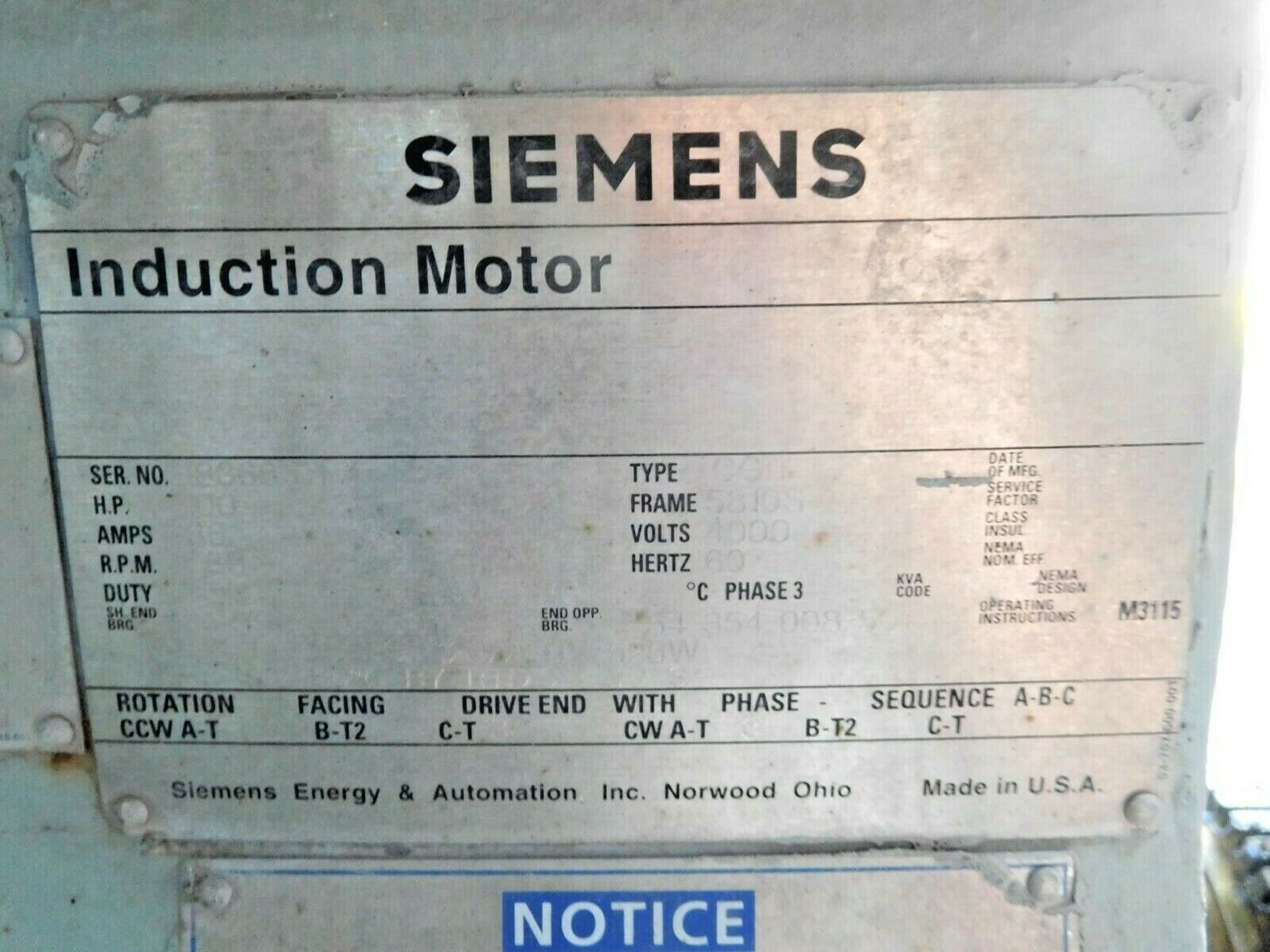 Siemens 1100 HP Electric Motor. 4000 V. 3 Ph. 1783 RPM. CGII. 5810S. 60 Hz. - Image 3 of 3