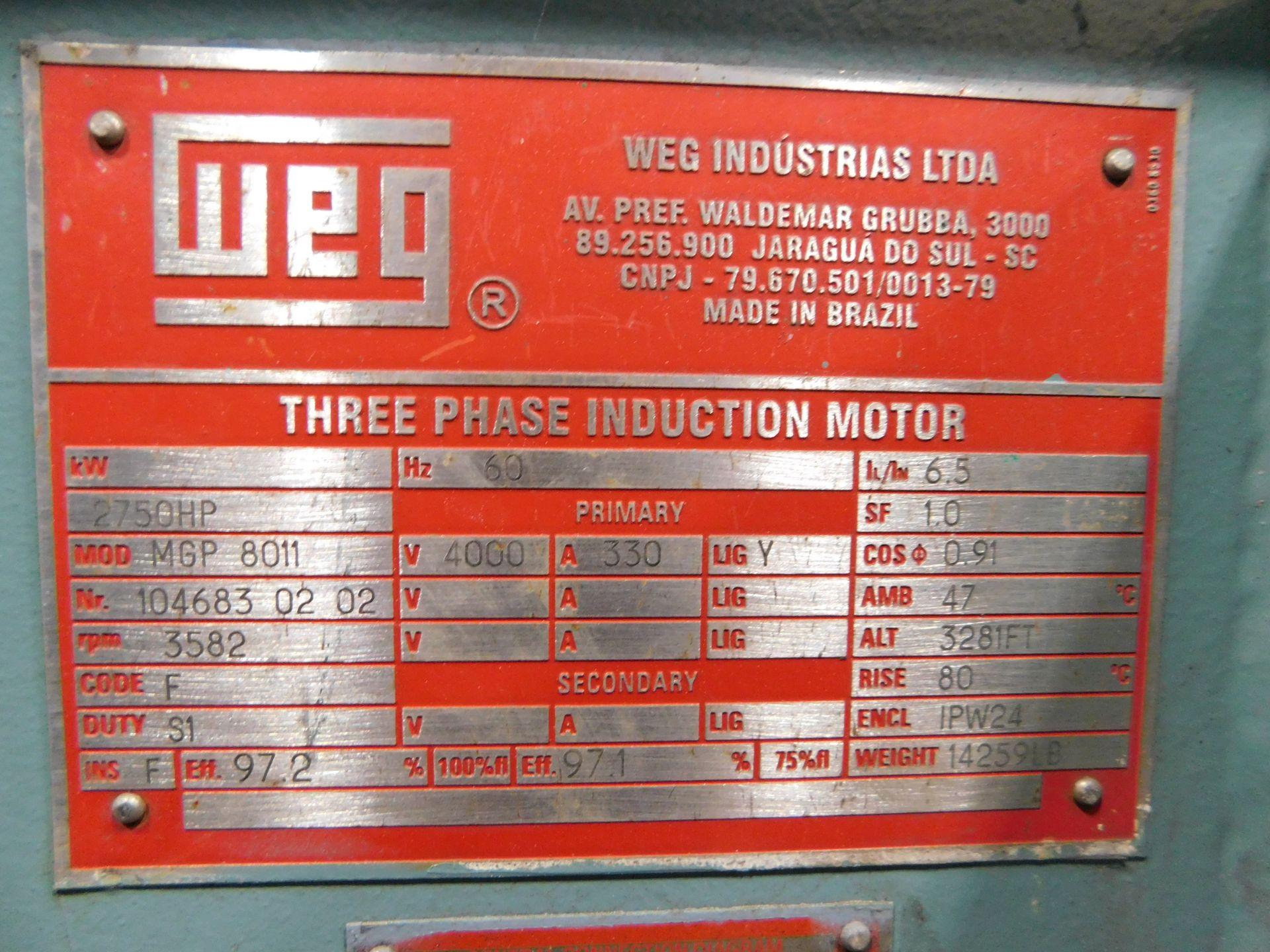 Weg Induction Motor. 2750 HP. 3 Ph. 4000 V. 3582 RPM. 1PW24. MGP 8011. 60 Hz. - Image 5 of 7