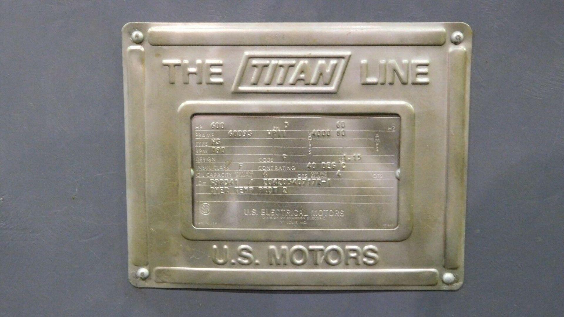 US Motors 600 HP Electric Motor. 890 RPM. 4000 V. 6809S. Type MS. 60 Hz. 3 Ph. - Image 5 of 5