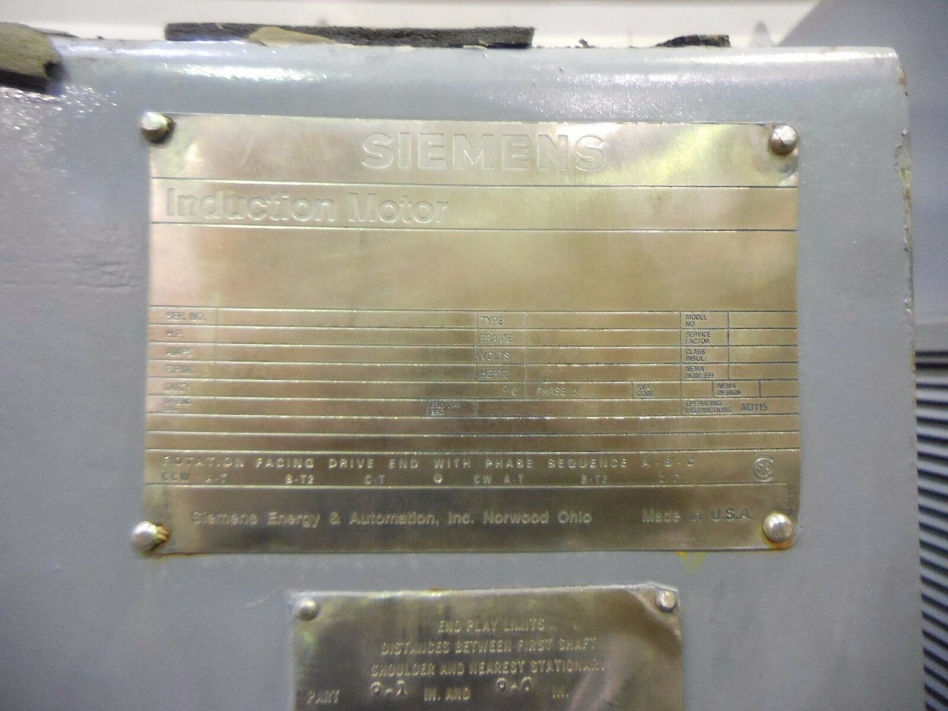 Siemens 3000 HP Induction Motor. 1785 RPM. 6812. 4000 V. 3 Ph. 60 Hz. - Image 5 of 5