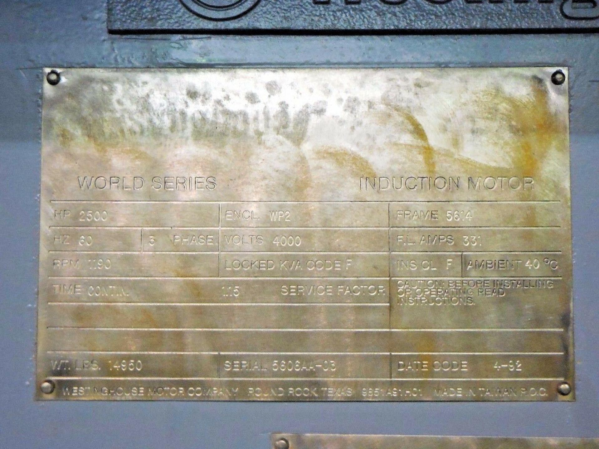 Westinghouse 2500 HP Induction Motor. 1190 RPM. 5614. 4000 V. 3 Ph. 60 Hz. - Image 4 of 4