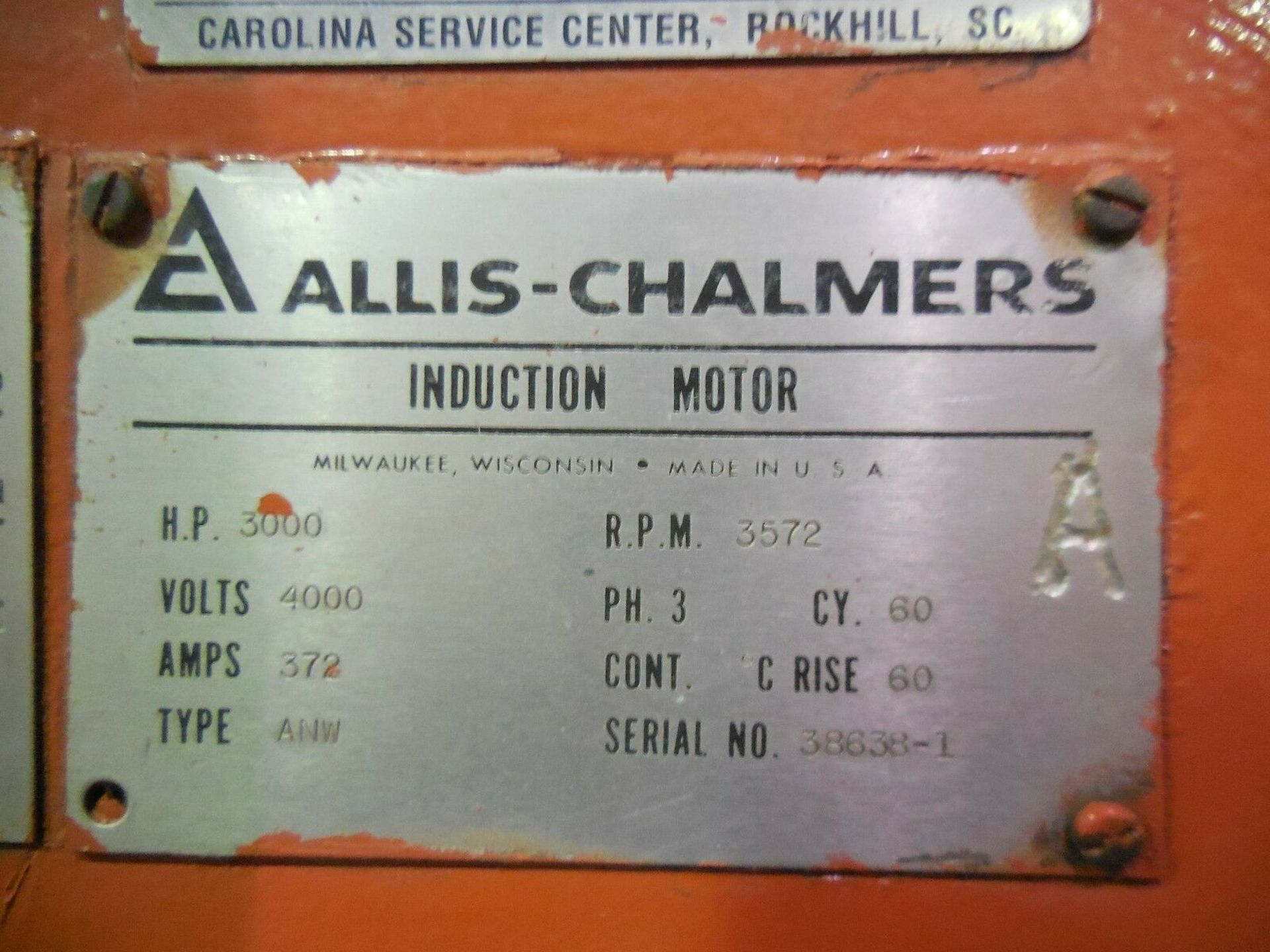 Allis Chalmers 3000 HP Induction Motor. 3572 RPM. 4000 V. Type ANW. 3 Ph. 60 Hz. - Image 6 of 6