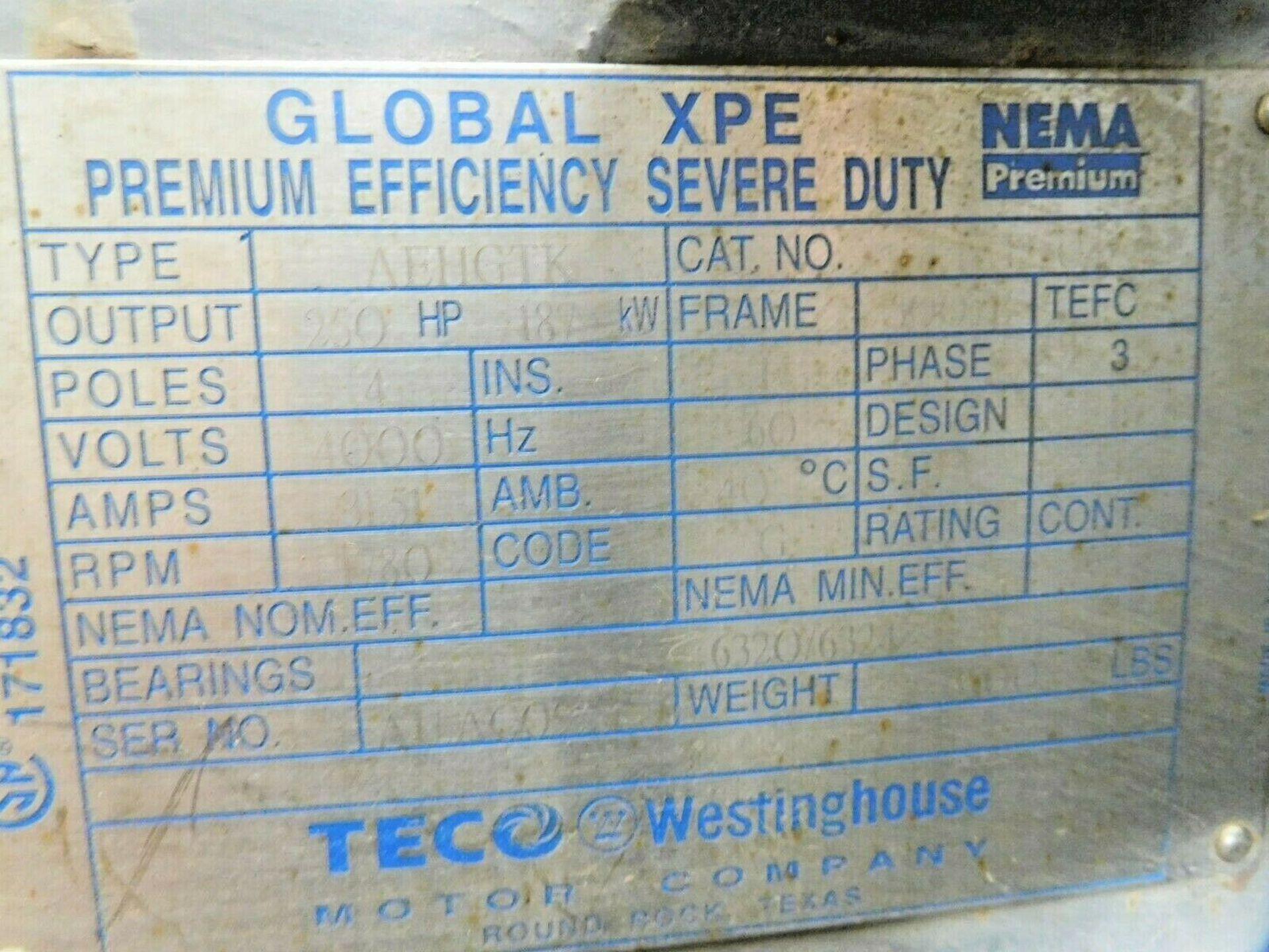 Teco Westinghouse KG2504 Motor. 250 HP. 1780 RPM. 4000 V. 5007B. TEFC. 60 Hz. 3 Ph. AEHGTK. - Image 4 of 4