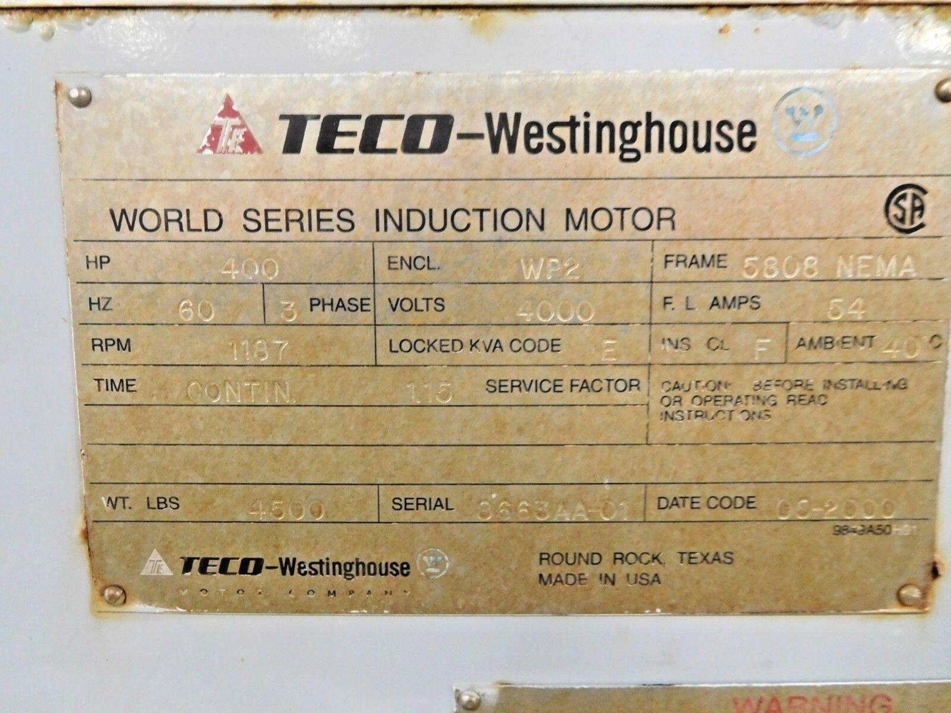 Westinghouse TECO 400 HP World Series Motor. 4000 V. 1187 RPM. 5808. WP2. 3 Ph. 60 Hz. - Image 4 of 4