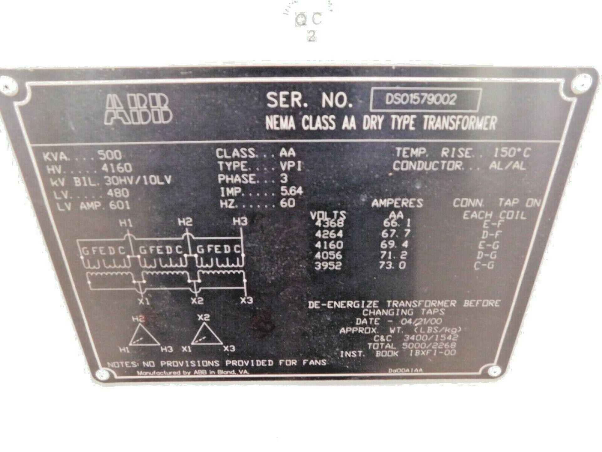 ABB 500 KVA Dry Type Transformer. 3 Ph. 4160 HV. 480 LV. 60 Hz. - Image 5 of 5