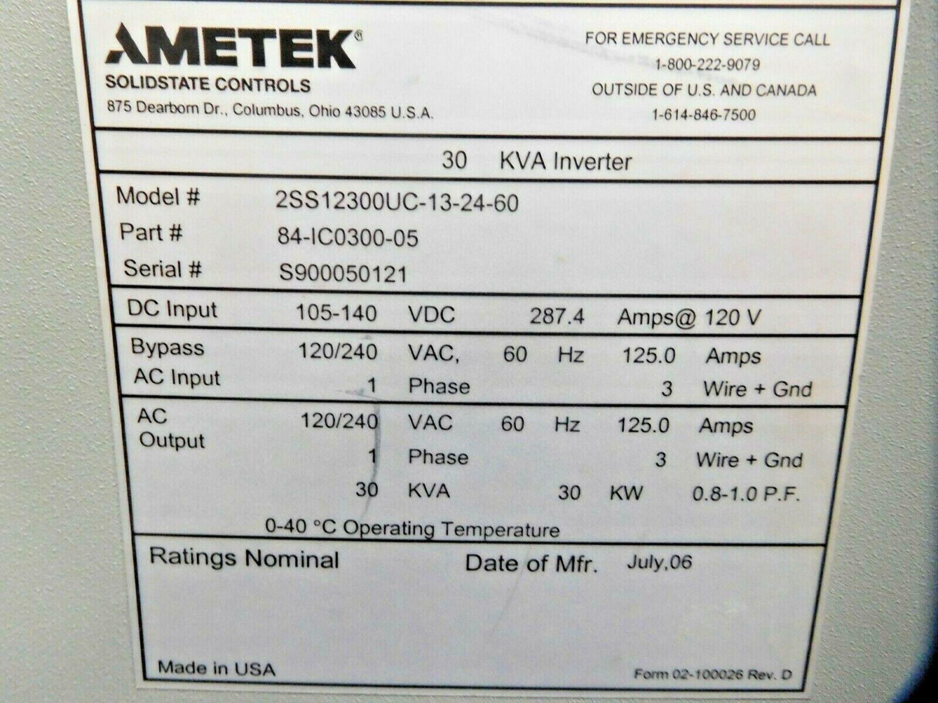 Ametek Solid State Controls 30 KVA Power Inverter. 1 Ph. - Image 2 of 2