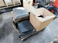 Pallet of Forklift Seats, Truck / SUV Hitch, and Old USA Flag