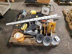 Pallet of Safety Lights, Electrical Wire, Hoists, Beam Clamps