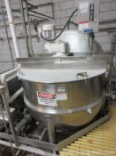 250 Gallon Lee Jacketed Sanitary Stainless Steel Kettle With Sweep Agitator