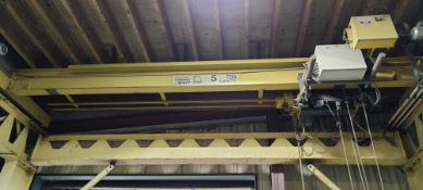 Yellow overhead crane p&h 5ton with approximately 36ft x 20ft of track