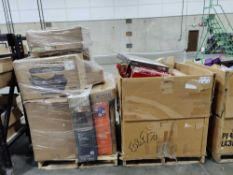Misc pallet, heat press machine, gas fire pit, TV, moen products, chairs and more
