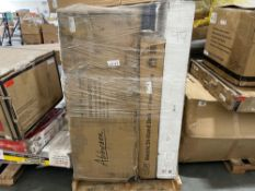 Pallet of Abbyson Newton chaise box 2, Exerpeutic walking treadmill, Electronic sit/stand desk, Kete