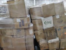 Assorted paper and plastic goods