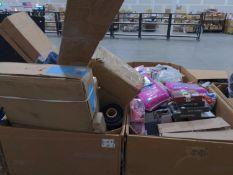 (2) Pallets - Assurance underwear, multiple holiday gift exchange boxes, sliding under cabinet trash