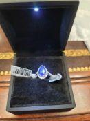 18kt white gold, diamond and tanzanite ring