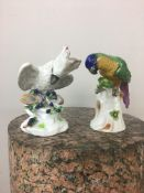 Two 19th c Continental bird figurines, both with crowned N mark to the base.