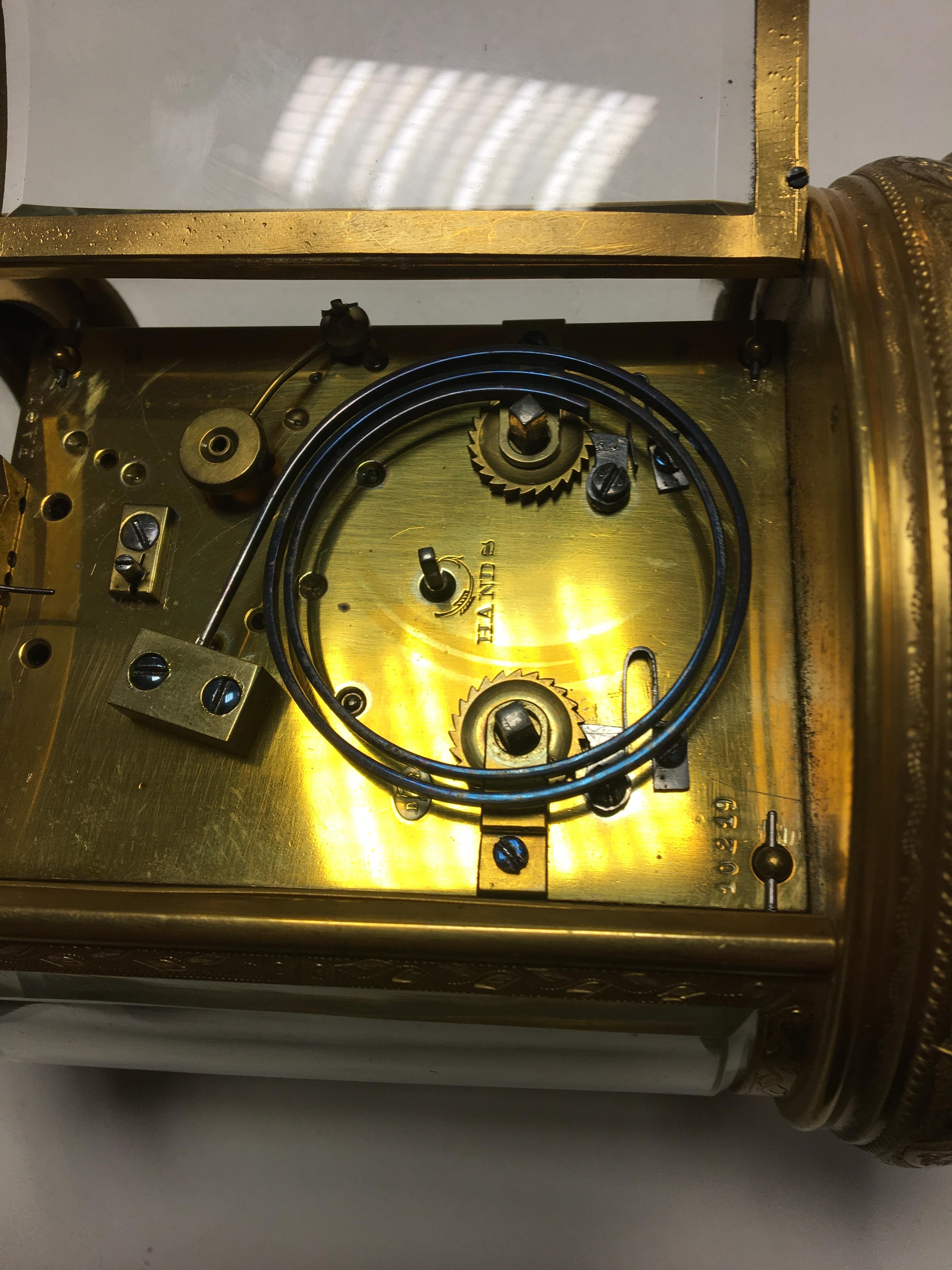 "19th c Scottish retailed oval ornate carriage clock, dial marked ""Leith Street Edinburgh"". 13cm x 11 - Image 10 of 12"