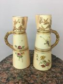 Pair Royal Worcester ewers, with marks to the base in puce and green