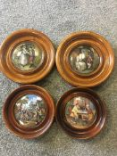 """Four framed 19th c pot lids in mahogany frames, """"A Pair"""", """"The village wedding"""", """"That no jealous ri"""
