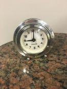 HM Silver cased Mercedes desk clock.