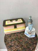 Nao figurine and Art Deco ceramic sewing box.