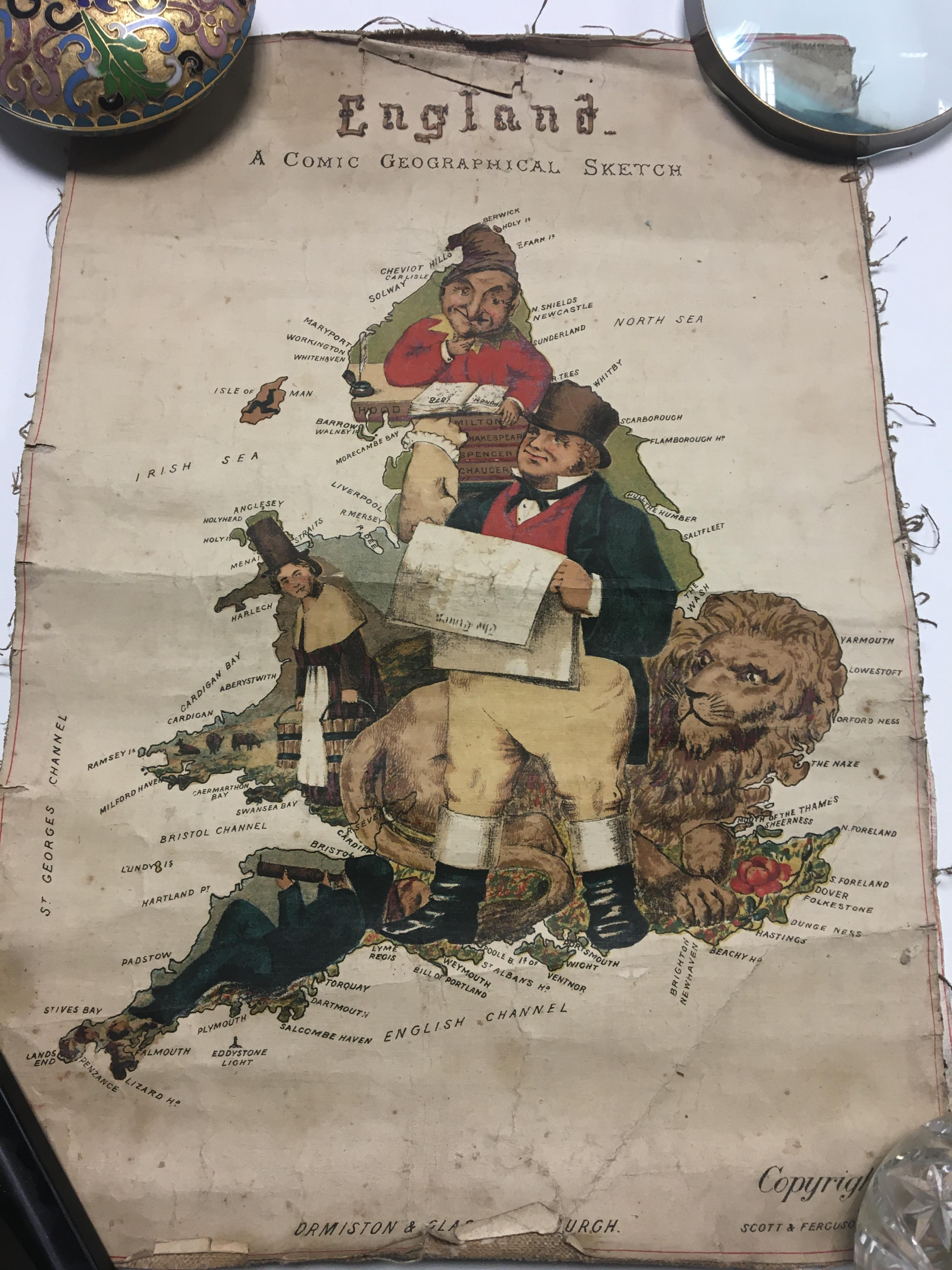 Three Victorian Comic Geographical maps with caric - Image 3 of 3