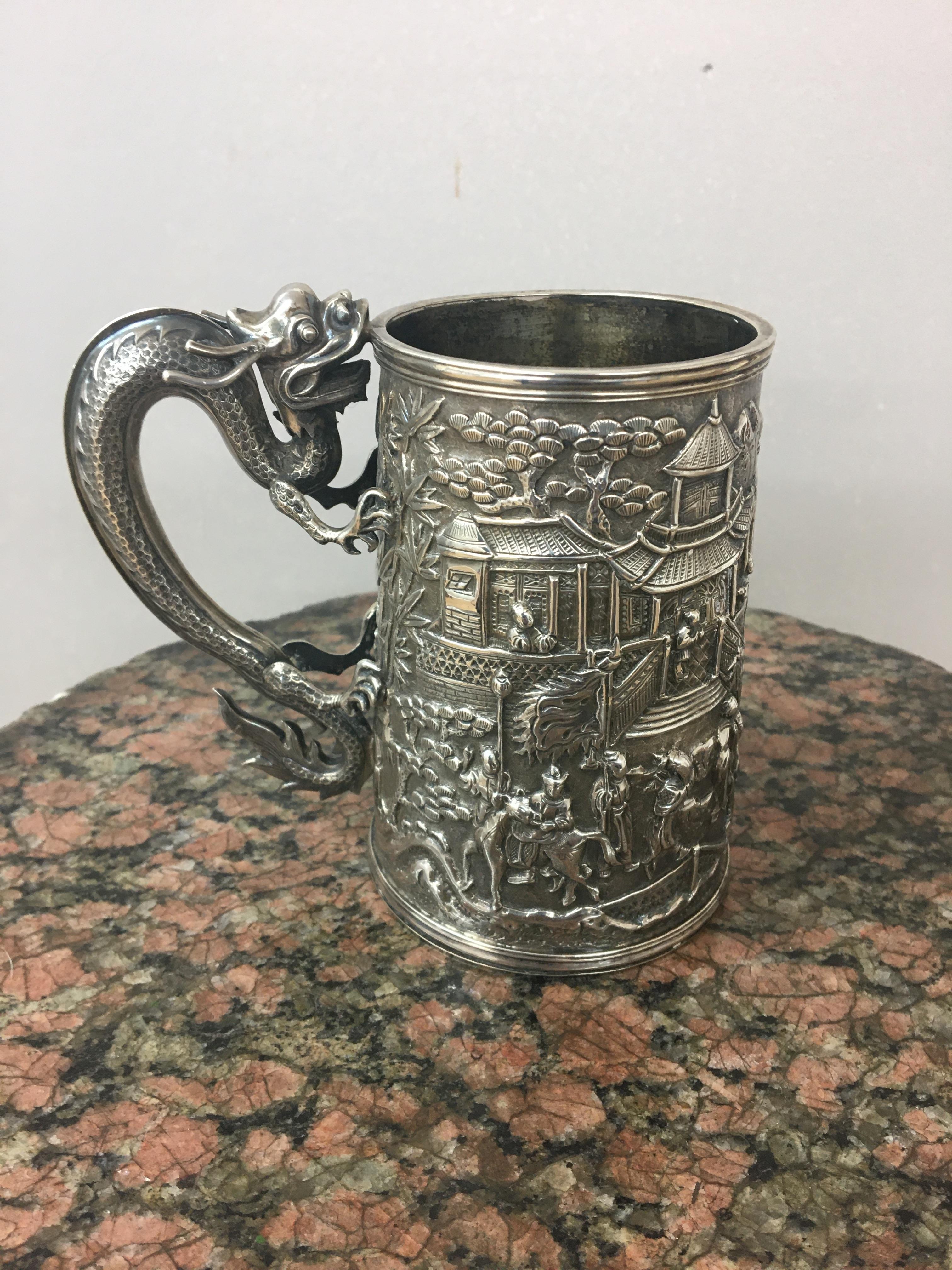 19th c Chinese silver tankard by Wang Hing,