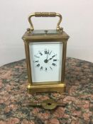 19th c French repeater carriage clock 10cm x 6 cm x 6.5cm
