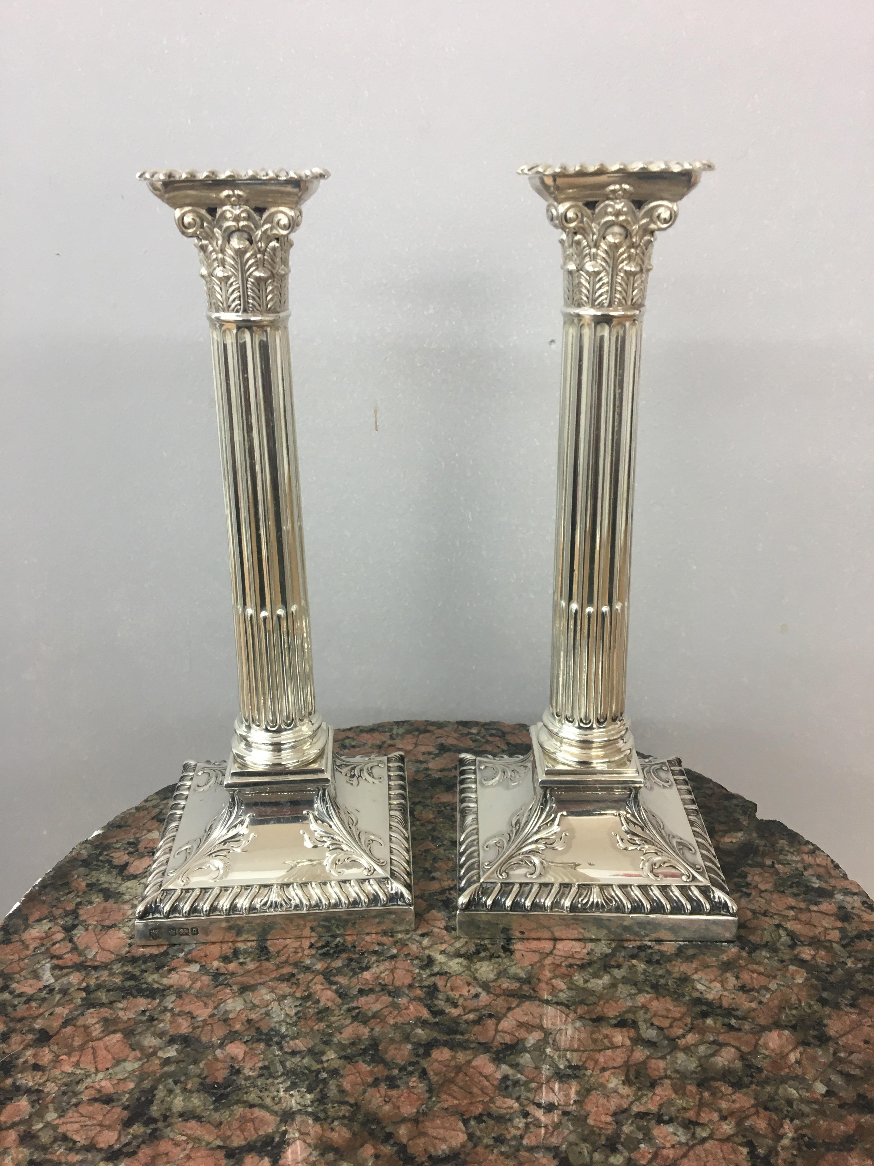 Edwardian silver Corinthian candlesticks, Sheffield, 1908, Hawksworth Eyre and co. height 24cm. - Image 3 of 4