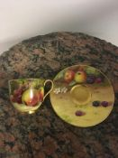 Royal Worcester Fruit decorated Cup and Saucer, si