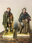 Pair 19th c Capo Dimante vagrant figures, woman and man, 16cm height.