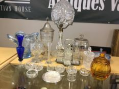 Crystal and glass items to include ornate crystal shade lamp, cruet etc.