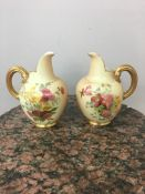 Pair of Royal Worcester flat back jugs C1906 RD number 1094, height 14cm