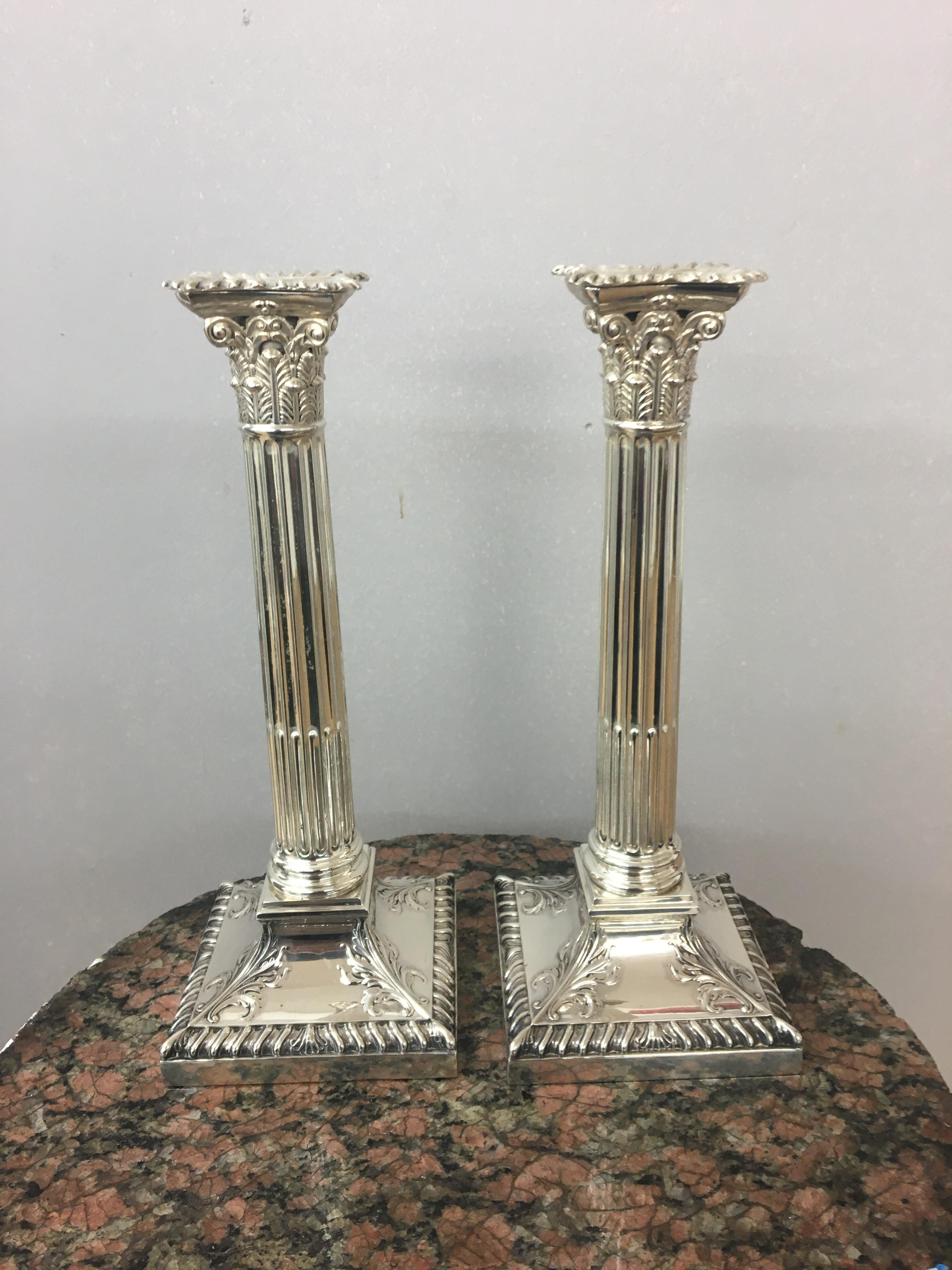 Edwardian silver Corinthian candlesticks, Sheffield, 1908, Hawksworth Eyre and co. height 24cm. - Image 4 of 4